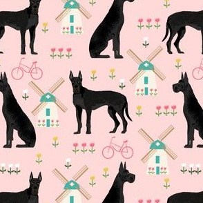 great dane windmill fabric - dutch windmill and tulips dog design - pink