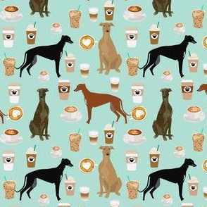 greyhound and coffee fabric  - cute dogs and coffees fabric - light blue