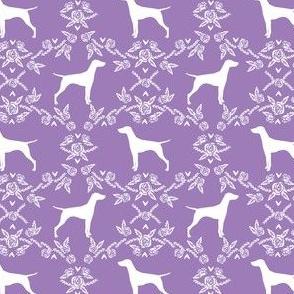 Vizsla silhouette floral pattern dog breed purple