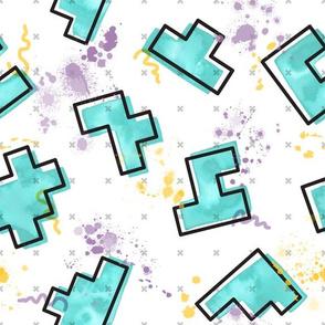 Watercolor in Memphis // tetris geometric shapes memphis design splatters aqua teal green fabric