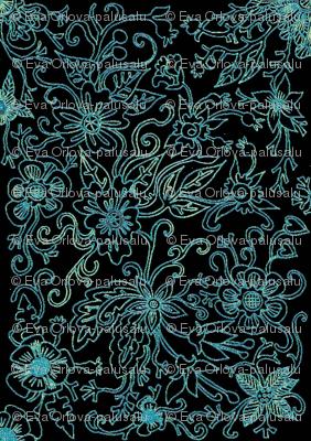black turquoise floral damask fabric palusalu spoonflower