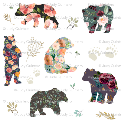"8"" PATCHWORK BEARS / FLORAL"