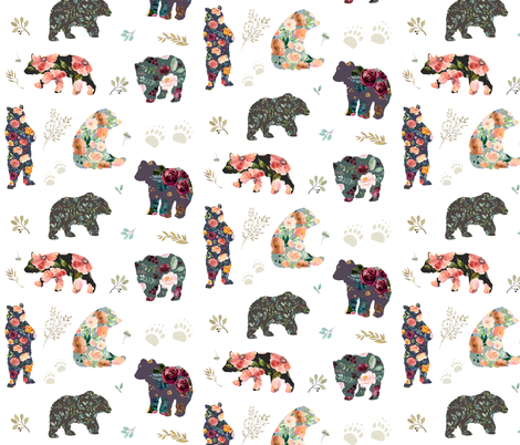 "8"" PATCHWORK BEARS / FLORAL fabric by shopcabin on Spoonflower - custom fabric"