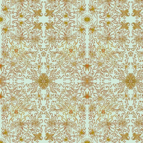 Platinum Mustard Floral Damask