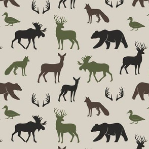 (small scale) woodland animals - camo colors