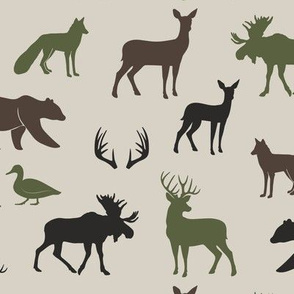 woodland animals - camo colors