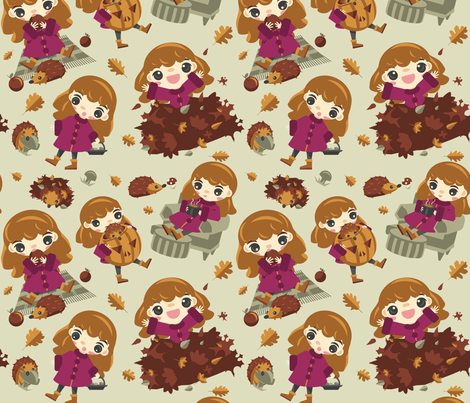 Autumn fun with a hedgehog fabric by tangolikeamango on Spoonflower - custom fabric