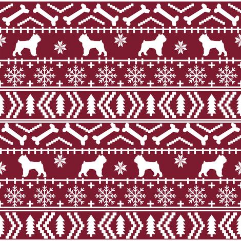 Brussels Griffon fair isle christmas fabric dog breed maroon ...