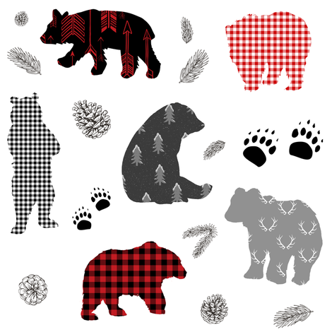 "8"" PATCHWORK WINTER BEARS fabric by shopcabin on Spoonflower - custom fabric"