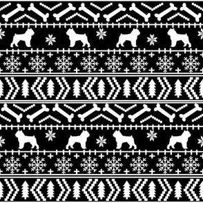 Brussels Griffon fair isle christmas fabric dog breed black and white