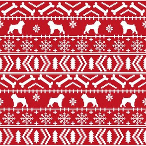 Brussels Griffon fair isle christmas fabric dog breed red