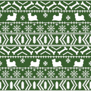 Biewer Terrier fair isle christmas fabric dog breed med green