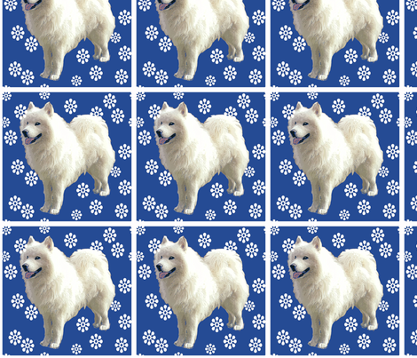 sammy and snowflakes fabric by dogdaze_ on Spoonflower - custom fabric