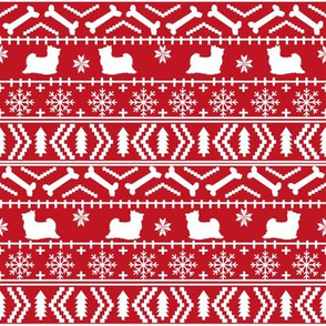 Biewer Terrier fair isle christmas fabric dog breed red