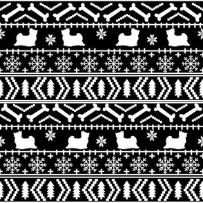 Biewer Terrier fair isle christmas fabric dog breed black and white
