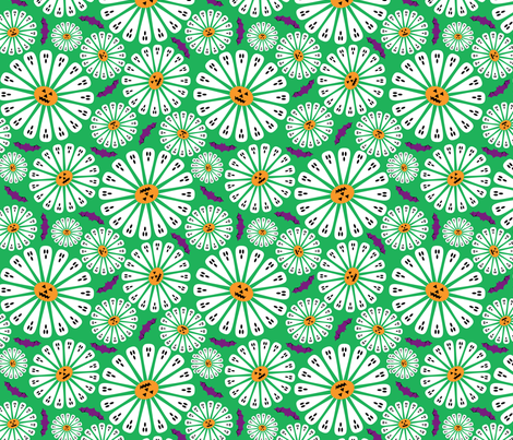 Halloween Floral Green fabric by modgeek on Spoonflower - custom fabric