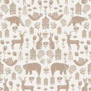 Christmas folk scandinavian winter holiday forest animals neutral
