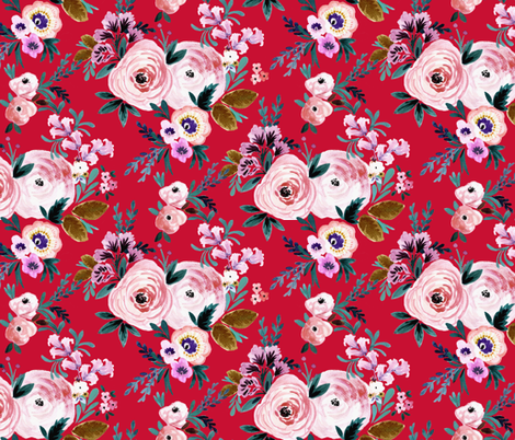 Victoria Floral red fabric by crystal_walen on Spoonflower - custom fabric
