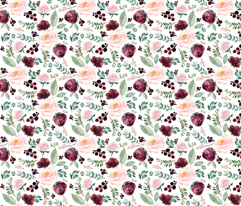 "12"" Wild at Heart Florals / White fabric by shopcabin on Spoonflower - custom fabric"