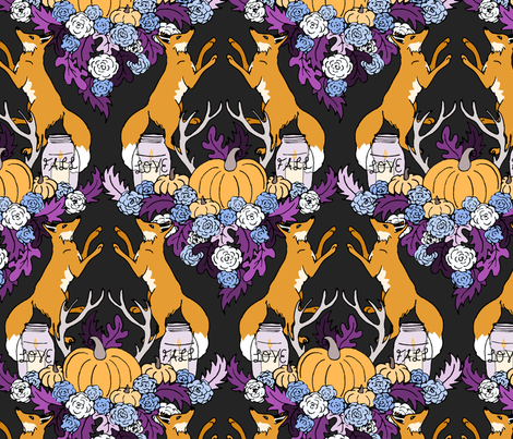 Rustic Foxes and Flowers fabric by pond_ripple on Spoonflower - custom fabric