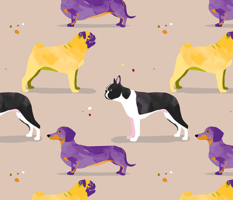 Dogs in the park / pug dachshund boston terrier fabric by mountvicandme on Spoonflower - custom fabric
