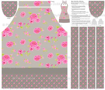 Roses Gray and Pink Cut and Sew Apron