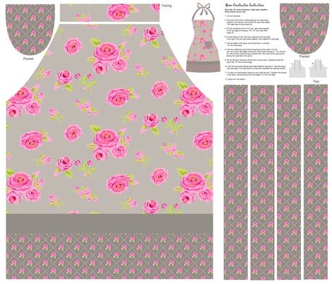 Roses Gray and Pink Cut and Sew Apron fabric by phyllisdobbs on Spoonflower - custom fabric