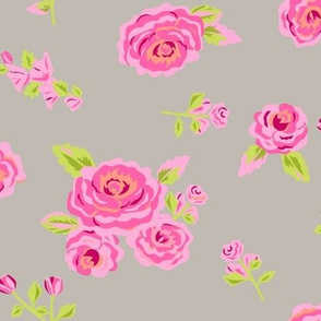 Roses Pink and Gray