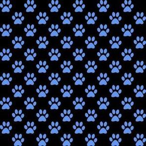 Half Inch Cornflower Blue Paw Prints on Black
