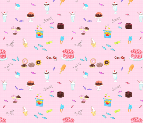 Cupcakes Candy and Sweets Pink background fabric by dreamoutloudart on Spoonflower - custom fabric