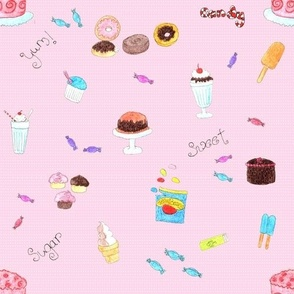 Cupcakes Candy and Sweets Pink background