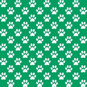Half Inch White Paw Prints on Shamrock Green