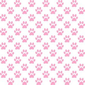 Half Inch Carnation Pink Paw Prints on White