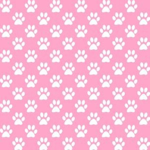 Half Inch White Paw Prints on Carnation Pink