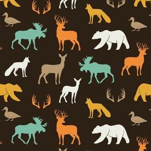 (small scale) woodland animals in dark rye
