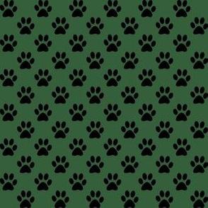 Half Inch Black Paw Prints on Hunter Green