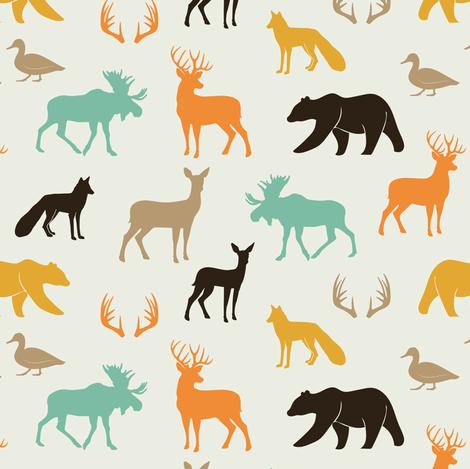 (small scale) woodland animals in rye fabric by littlearrowdesign on Spoonflower - custom fabric
