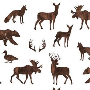 woodland animals - watercolor