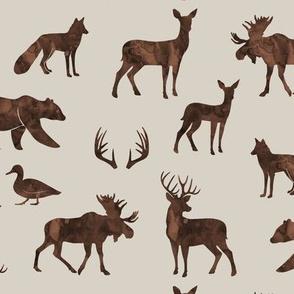 woodland animals - watercolor on beige