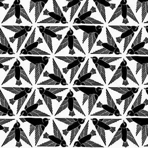 Geometric Birds - Black on White