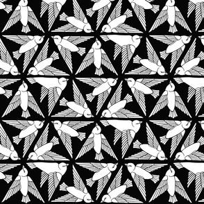 Geometric Birds - White on Black