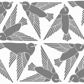 Geometric Birds - Grey on White