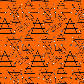 wiccan symbols on orange