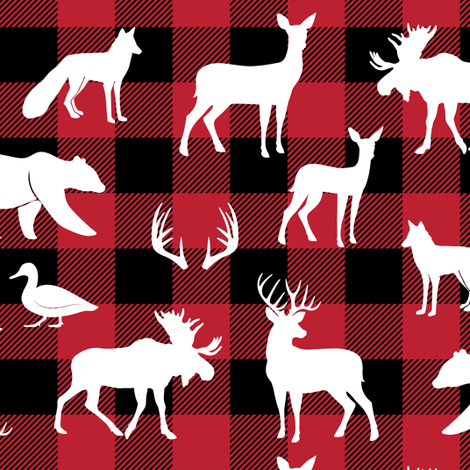 woodland animals on buffalo plaid fabric by littlearrowdesign on Spoonflower - custom fabric