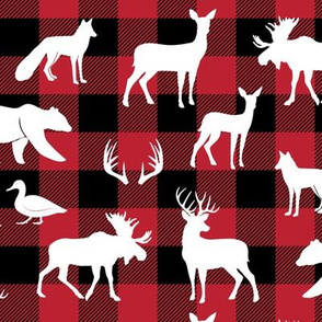 woodland animals on buffalo plaid