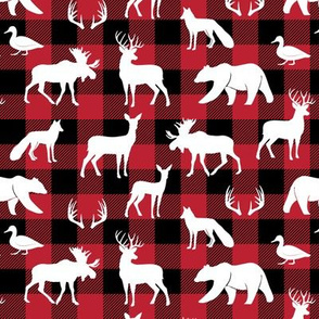 (small scale) woodland animals on buffalo plaid