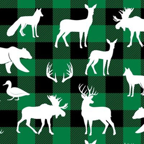 woodland animals on green plaid