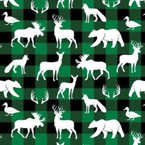 (small scale) woodland animals on green plaid