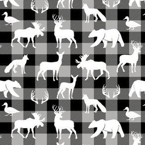 (small scale) woodland animals on grey plaid