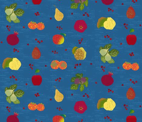 Fall Fruit Medley Blue Basket fabric by wickedrefined on Spoonflower - custom fabric